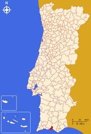 Portugalin Algarven Albufeiran sijainti kartta
