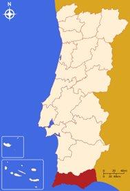 kartta - Algarve sijaitsee Etelä-Portugalissa