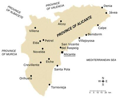 Espanja Costa Blanca Alicanten maakunnan suurimmat kaupungit