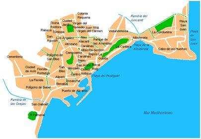 Espanja Costa Blanca Alicanten rannikko kartta kuva
