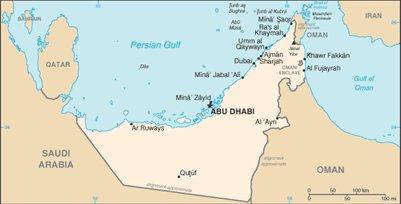 kartta Arabiemiirikunnat p��kaupungit