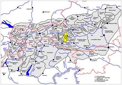 kartta kuva Keski-Alpit Bad Gastein It�valta matka