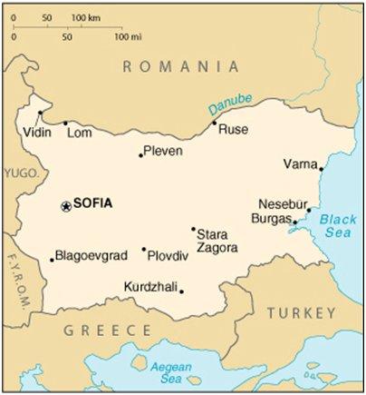 kartta Bulgarian suurimmat kaupungit
