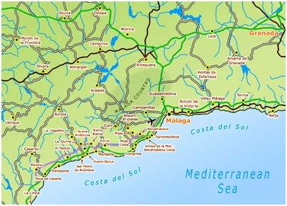kartta Malaga Costa del Sol aurinkorannikko loma matka