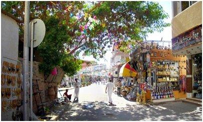 Hurghada Egypti - Hurghadan vanhan kaupungin ostosaluetta