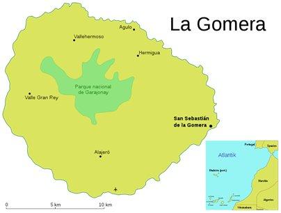 Espanja Kanariansaaret La Gomeran kartta