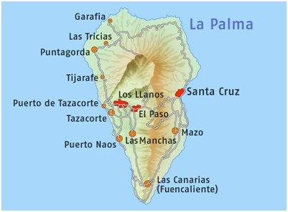 Espanja Kanariansaaret La Palma saaren tiekartta