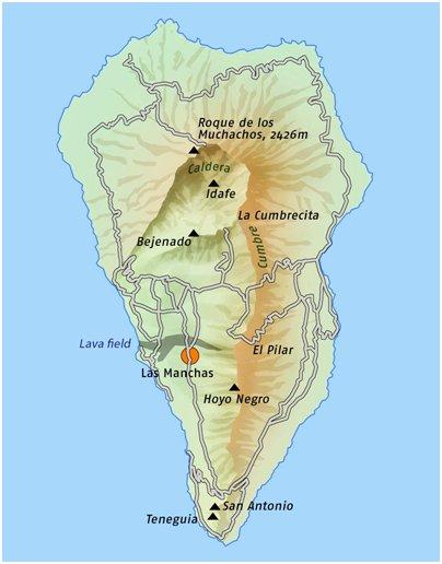 Espanja Kanariansaaret La Palman tulivuoret kartta
