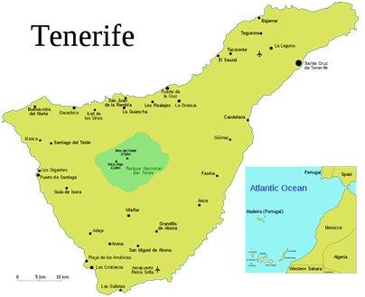 Espanja Kanarian saaret Teneriffan kartta