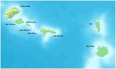 Kap Verde Barlaventon saariryhm� kartta