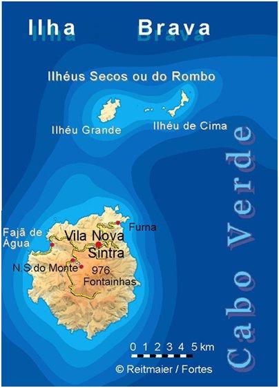 Kap Verde bravan saari sijainti kartta