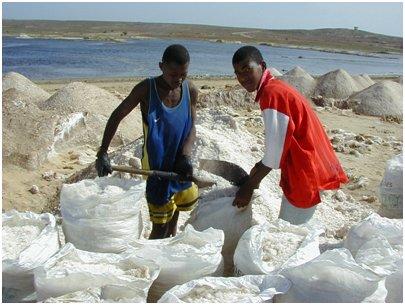 Kap Verde Maio saari merisuola kaivos
