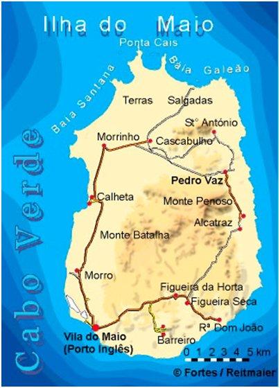 Kap Verde Maion saari kartta