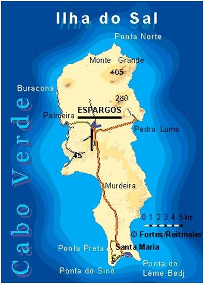 Kap Verde Salin saari sijainti Sal kartta