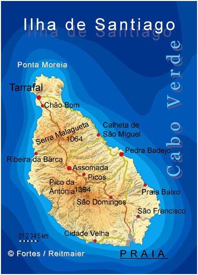 Kap Verde Santiagon saari kartta