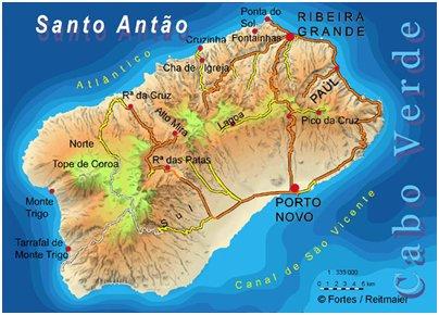 Kap Verde lomat Santo Ant�o saari sijainti kartta