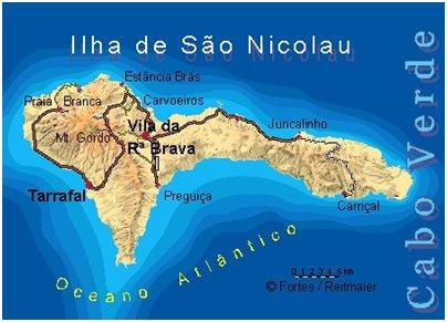 Kap Verde S�o Nicolau saari sijainti kartta