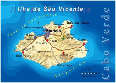Kap Verde matka São Vicenten saari sijainti kartta