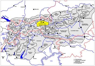 kartta kuva Keski-Alpit Kitzb�heler-Alppialue  It�valta Saalbach-Hinterglemm matka