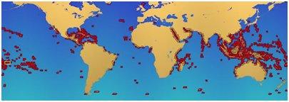 Koralliriuttojen sijainti maapallolla
