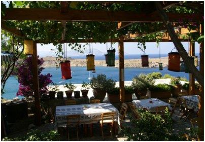 Kreikka Rodos Lindos ranta ravintola