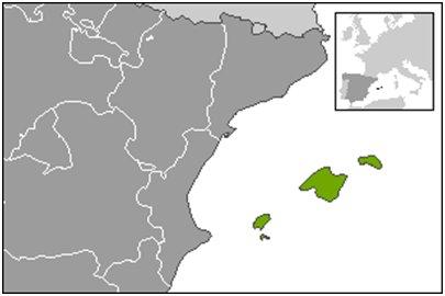 Baleaarien sijainti Välimeressä karttakuva