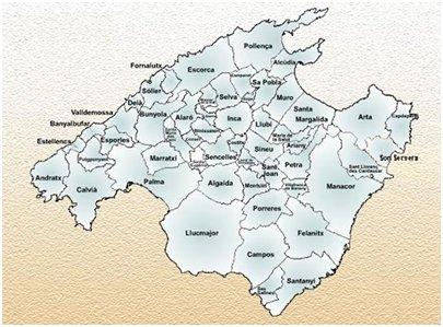Espanja kartta - Mallorcan kunnat