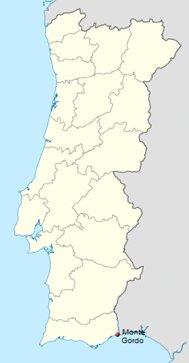 Monte Gordo Algarve Portugali sijainti kartta