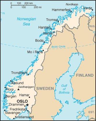 kartta Norja Oslo sijainti