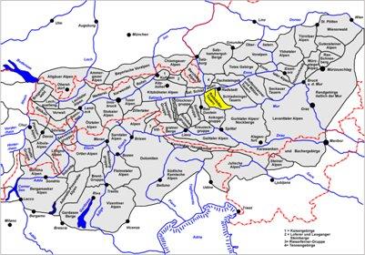 kartta Radst�dter Tauernin vuorijonoalue Alpit Obertauern It�valta