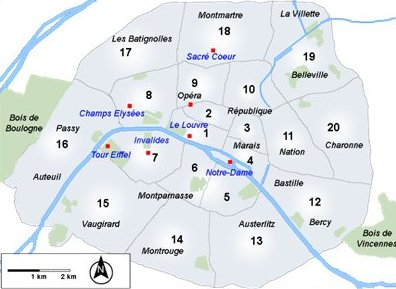 Ranska Pariisin kaupunginosat kartta