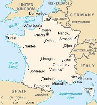 Ranska sijainti suurimmat kaupungit kartta
