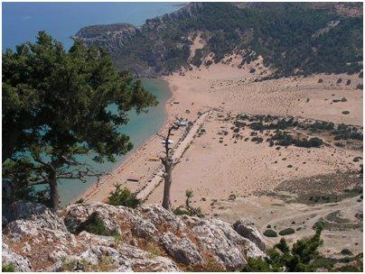 Kreikka Rodos Tsambika hiekkaranta Rodoksella Tsampika uimaranta