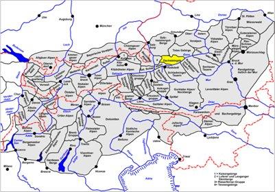 kartta Dachsteinin vuorialue Alpit Schladming Itävalta