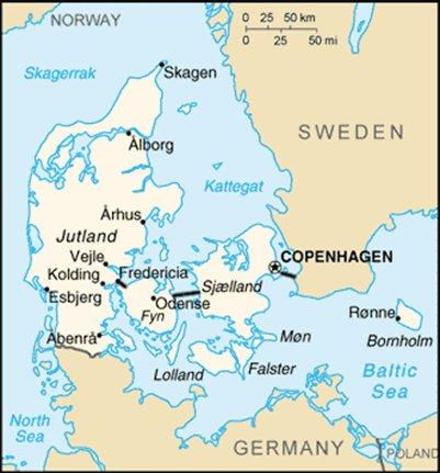 kartta K��penhamina Tanska sijainti