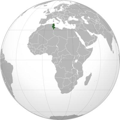 Tunisia sijainti maapallolla kartta